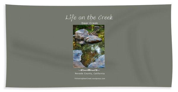 Deer Creek Point - White Text Beach Towel