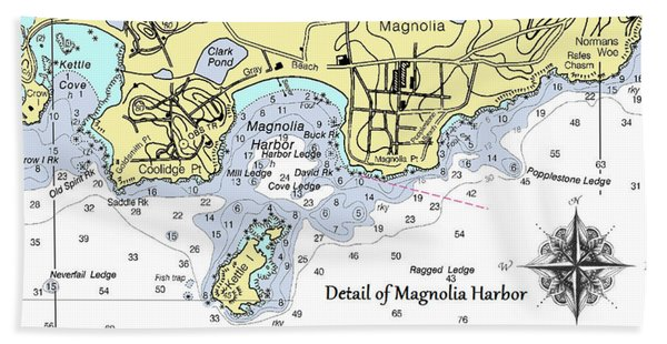 Detail Of Magnolia Harbor Beach Towel