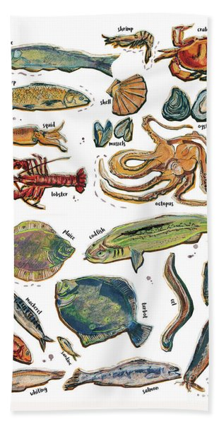 Different Fishes And Seafood Beach Towel