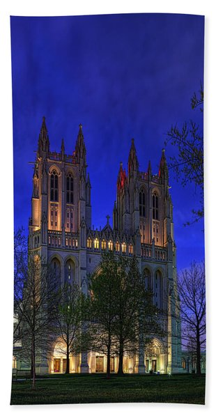 Digital Liquid - Washington National Cathedral After Sunset Beach Towel