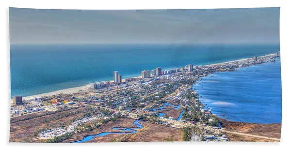 Distant Aerial View Of Gulf Shores Beach Towel