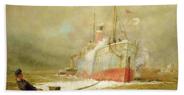 Docking A Cargo Ship Beach Towel