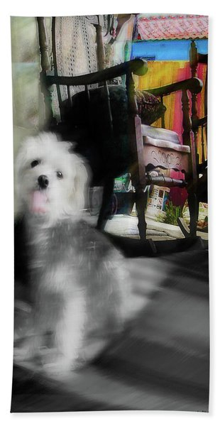 Dogie In The Patio Art  Beach Towel