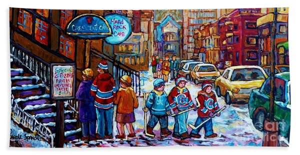 Downtown Montreal Winter Scene Painting For Sale View Of Mcgill And Mount Royal C Spandau Hockey Art Beach Towel