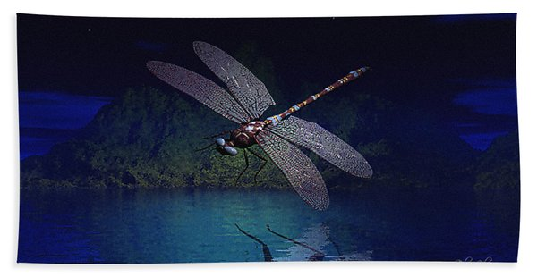 Dragonfly Night Reflections Beach Towel
