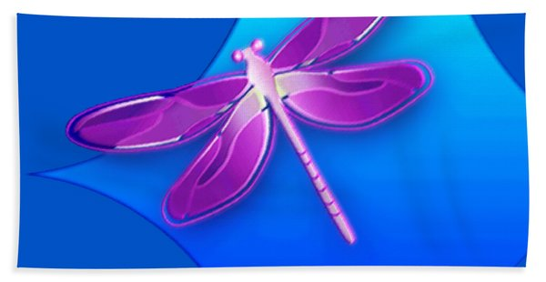 Dragonfly Pink On Blue Beach Towel