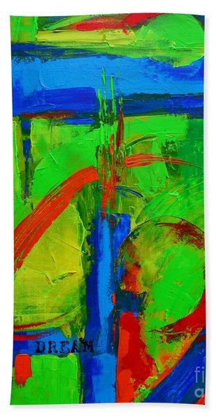 Dream In Green Modern Abstract Art Beach Sheet