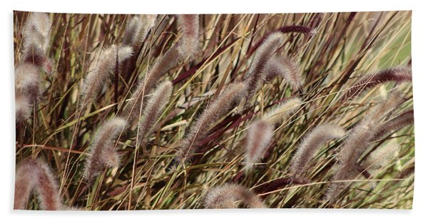Dried Grasses In Burgundy And Toasted Wheat Beach Towel