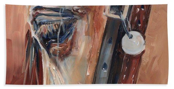 Dun Horse Eye Oil Painting Beach Towel