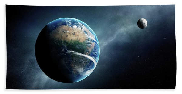 Earth And Moon Space View Beach Towel