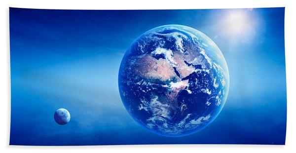 Earth Sunrise Deep Space Beach Towel
