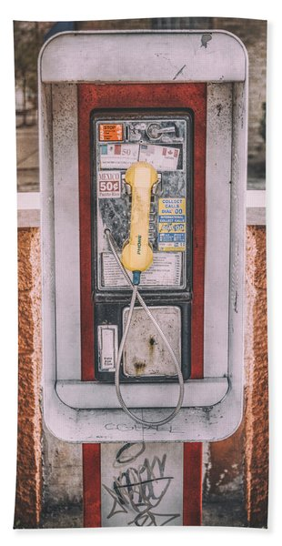 East Side Pay Phone Beach Towel