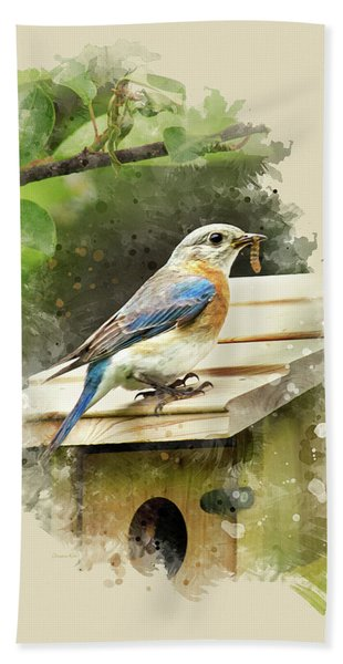Eastern Bluebird Watercolor Art Beach Towel