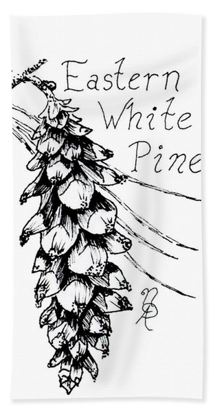 Eastern White Pine Cone On A Branch Beach Towel