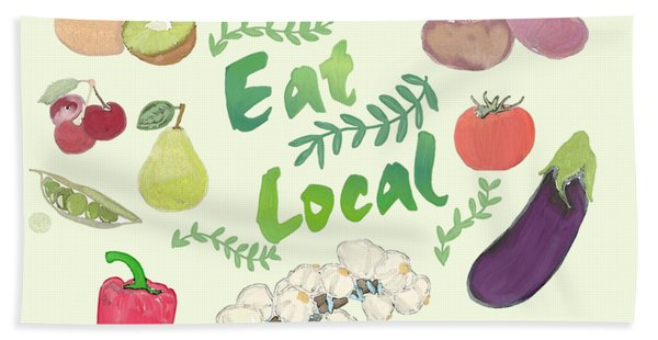 Eat Local  Beach Towel