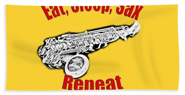Eat Sleep Sax Repeat Beach Sheet