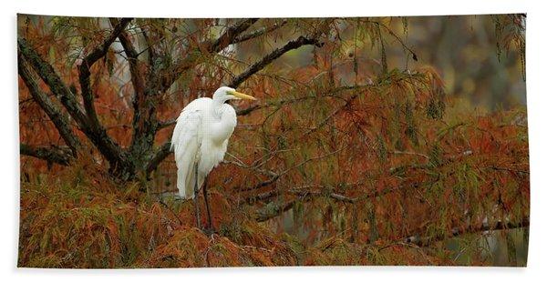 Egret In Autumn Beach Towel