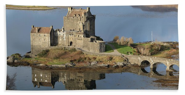 Eilean Donan Castle Reflections Beach Sheet