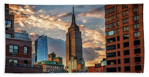 Empire State Building Sunset Rooftop Beach Sheet