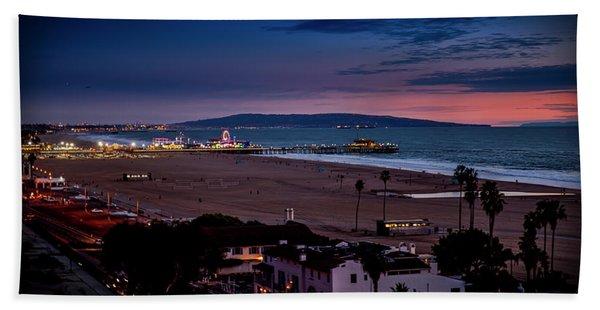 Evening Glow On The Pier Beach Sheet