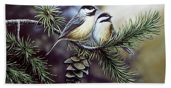 Evergreen Chickadees Beach Towel