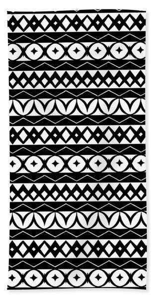 Fair Isle Black And White Beach Towel