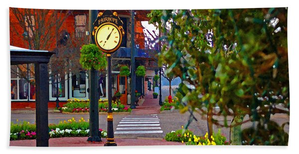 Fairhope Ave With Clock Down Section Street Beach Sheet