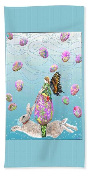 Fairy Riding An Egg And Easter Bunny Beach Towel