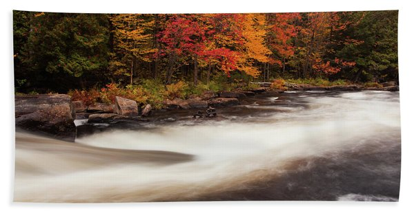 Fall At Oxtongue Rapids Beach Towel