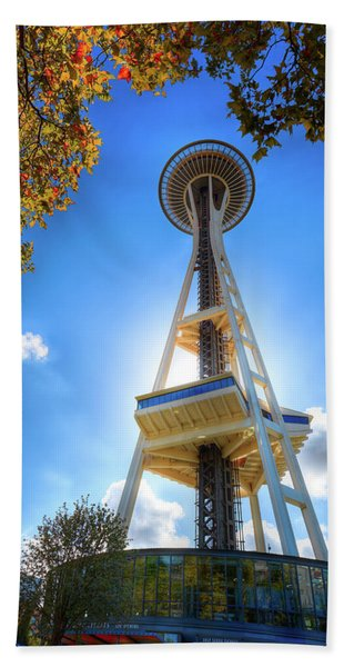 Fall Day At The Space Needle Beach Towel