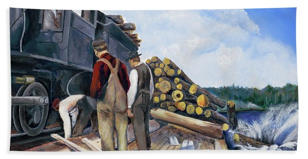 Fall Lake Train Beach Towel