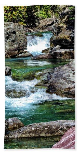 Falls Above Lake Mc Donald Beach Towel