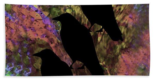 Family Crow Black Soft Beach Towel