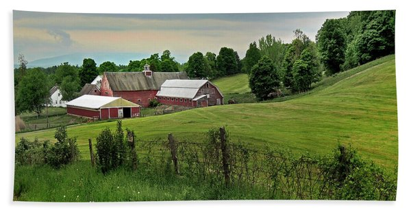 Farm In West Newbury Vermont Beach Towel