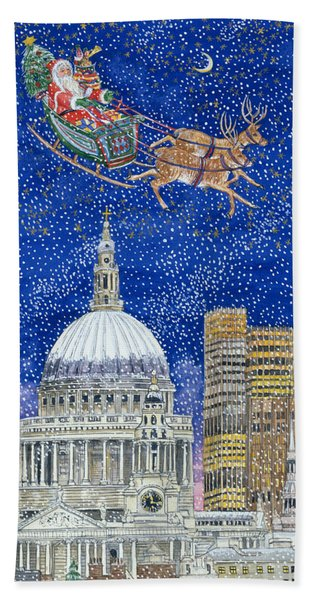 Father Christmas Flying Over London Beach Towel