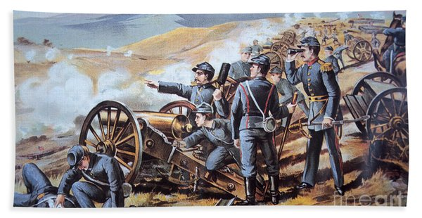 Federal Field Artillery In Action During The American Civil War  Beach Towel