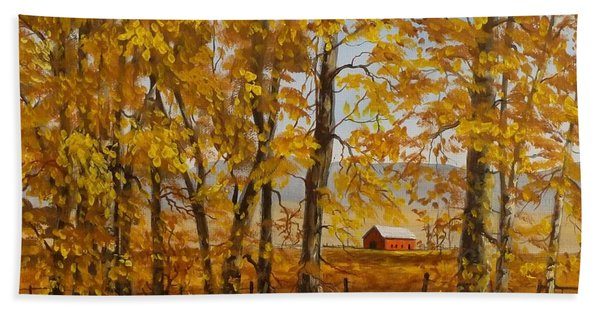 Beach Towel featuring the painting Feels Like Fall by Judy Bradley