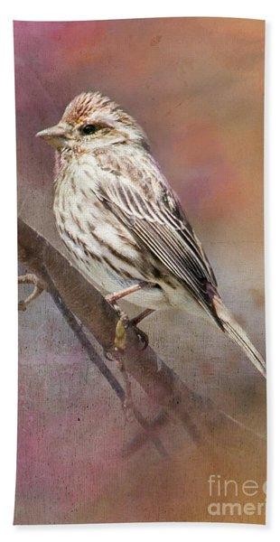 Female Sparrow On Branch Ginkelmier Inspired Beach Towel