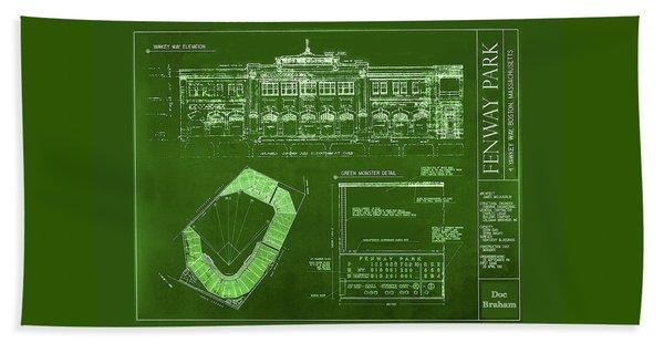 Fenway Park Blueprints Home Of Baseball Team Boston Red Sox Beach Towel