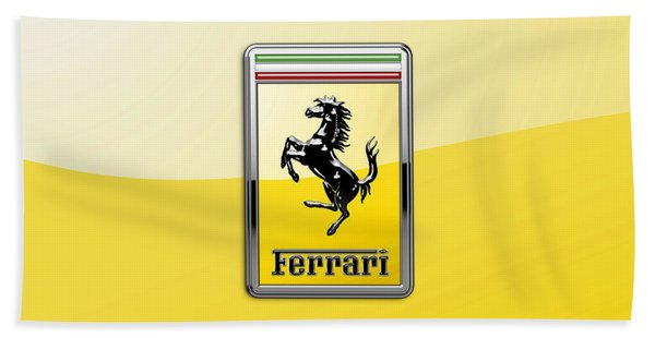 Ferrari 3d Badge- Hood Ornament On Yellow Beach Towel