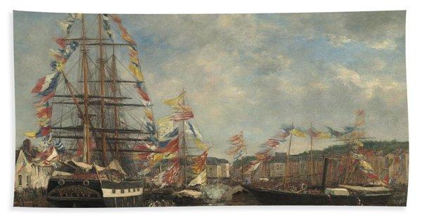Festival In The Harbor Of Honfleur Beach Towel
