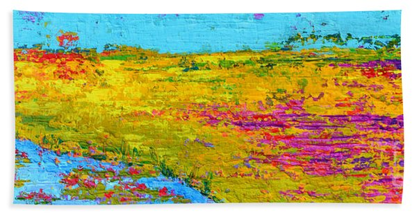 Field Of Flowers, Waterlily Pads Pond Modern Abstract Landscape Painting - Palette Knife Work Beach Towel