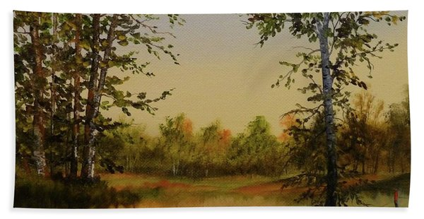 Beach Towel featuring the painting Fields And Trees by Judy Bradley