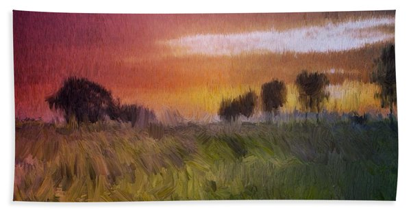 Beach Towel featuring the painting Fields Of Green by Mark Taylor