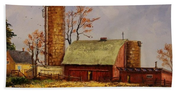 Beach Towel featuring the painting Fields Ready For Fall by Judy Bradley