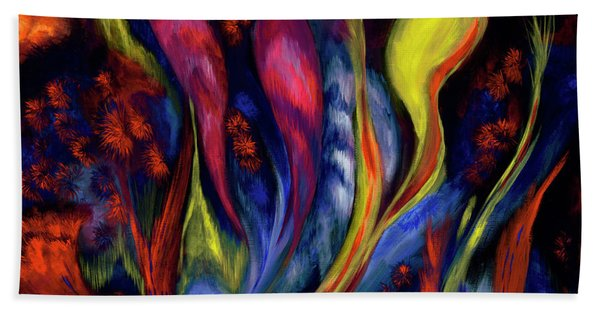 Fire Flowers Beach Towel
