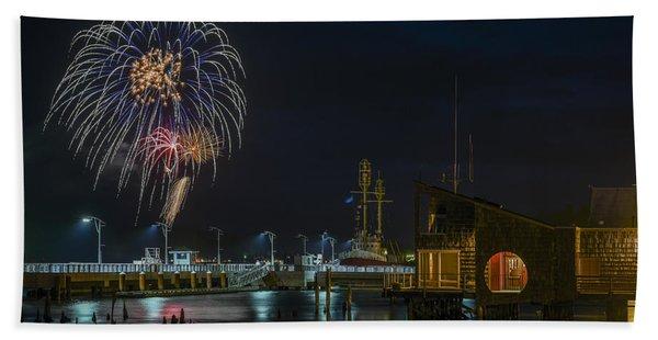 Fireworks And 17th Street Docks Beach Towel