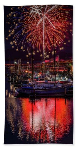 Fireworks At The Docks Beach Towel