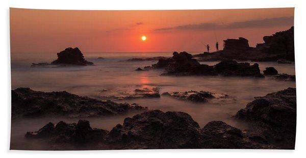 Fishermen At Sunset Beach Towel