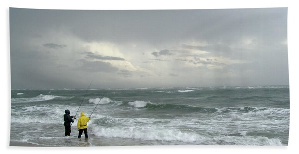 Fishing Through The Storm - Diamond Shoals Nc Beach Towel